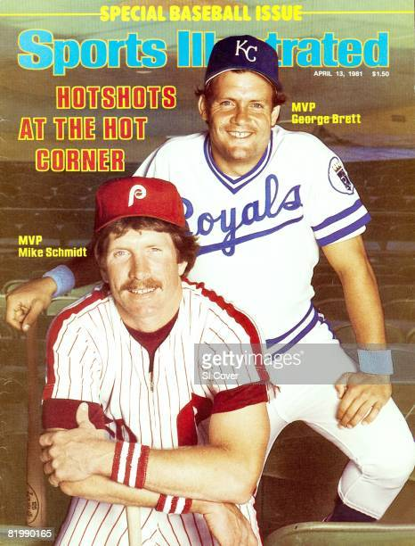 Baseball Portrait of Philadelphia Phillies Mike Schmidt and Kansas City Royals George Brett during spring training at Terry Park Fort Myers FL...