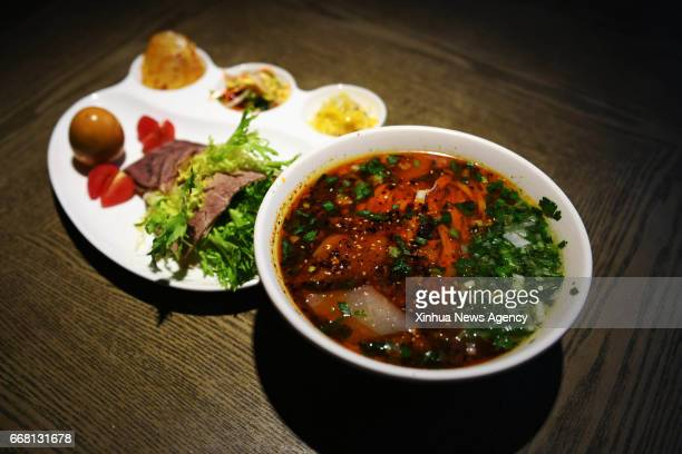 LANZHOU April 13 2017 Photo taken on April 12 2017 shows a package meal of beef noodle at a noodle restaurant in Lanzhou capital of northwest China's...