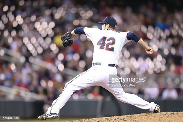 April 15 2015 Minnesota Twins pitcher Casey Fien pitching during the eighth inning at the Minnesota Twins vs Kansas City Royals at Target Field Twins...