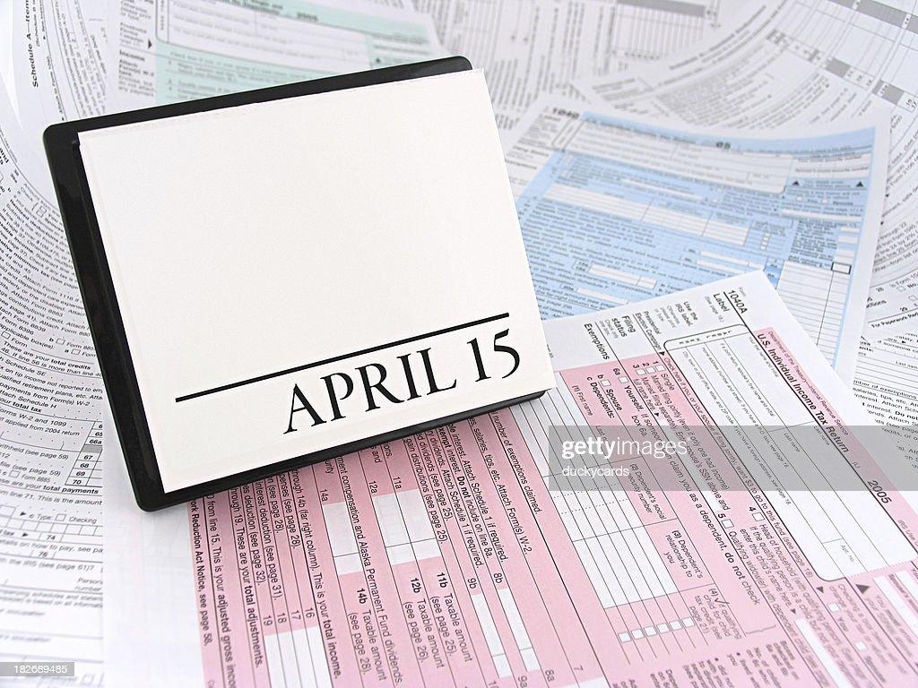 April 15th Calendar on Tax Forms