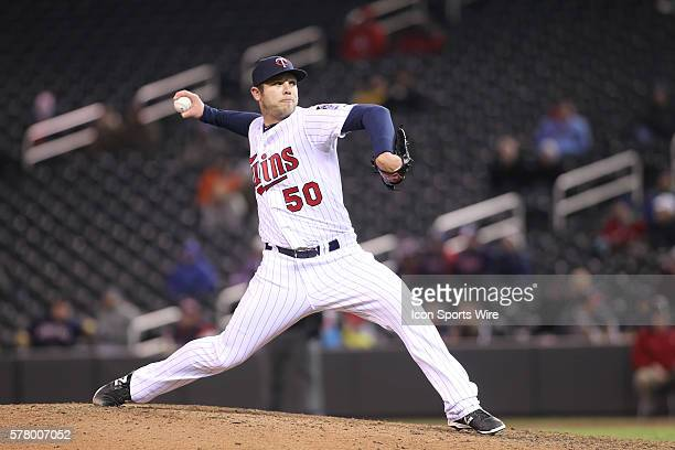 April 17 2014 Minnesota Twins pitcher Casey Fien pitching during the eighth inning at the Minnesota Twins game versus Toronto Blue Jays at Target...