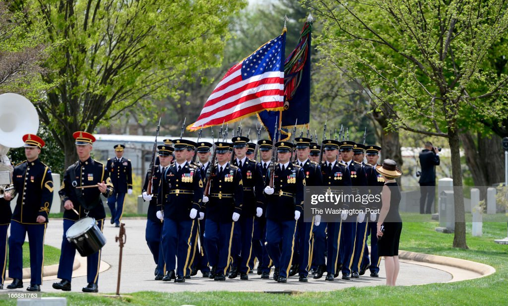 An Escort Platoon leads the way for the burial service for U.S. Army Lt. Col. Don Carlos Faith Jr., a Medal of Honor recipient who was killed in the Korean War in 1950. The service was held at Arlington National Cemetey on April 17 2013 in Arlington, VA