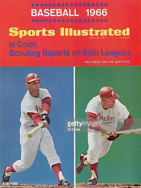 April 18 1966 Sports Illustrated Cover Baseball Philadelphia Phillies Dick Groat in action at bat during spring training Clearwater FL 3/6/1966