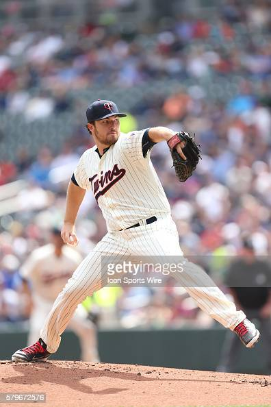 Minnesota Twins pitcher Phil Hughes pitching during the first inning at the Minnesota Twins vs Cleveland Indians at Target Field