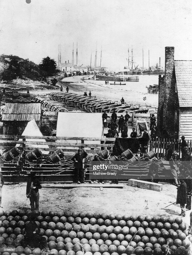Artillery and cannon balls in Virginia in preparation for the campaign of 1862