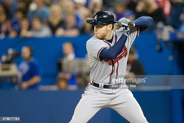 Atlanta Braves First base Freddie Freeman at bat during the Atlanta Braves game versus the Toronto Blue Jays at Rogers Center in Toronto ON Braves...