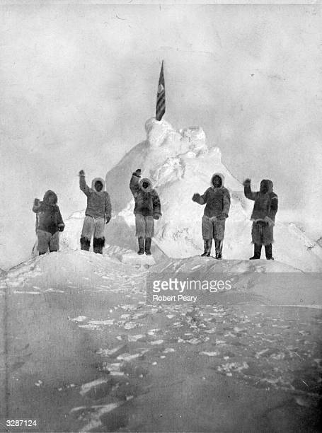 Members of the expedition led by US naval commander Robert Peary at the North Pole They are the first to reach it Peary made 8 Arctic expeditions in...