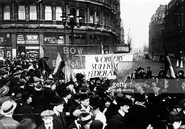 The East End section of a suffragette march sweeping into Trafalgar Square London