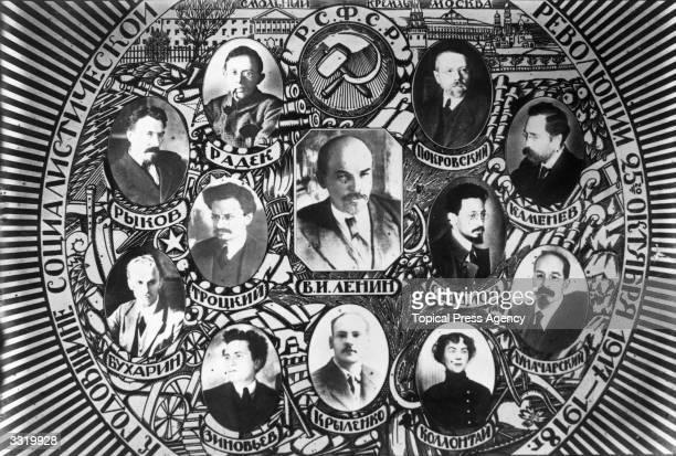 Russian politicians top four left to right Rykov Radek Pokrevsky Kamenev middle left to rightTrotsky Lenin and Sverdlov bottom left to right Bukharin...