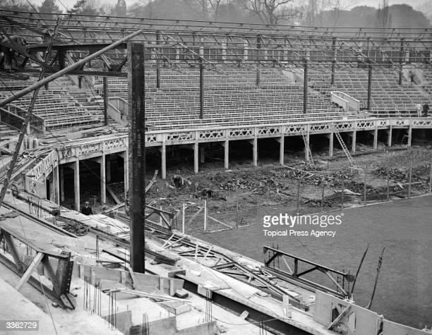 The new Centre Court under construction at Wimbledon's AllEngland Lawn Tennis Club London