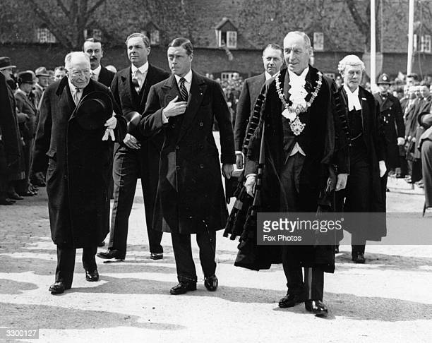 The Prince of Wales later King Edward VIII with the officials arriving for the opening ceremony of the Shakespeare Memorial Theatre StratfordonAvon