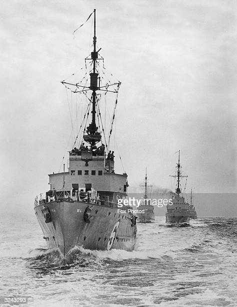 A German squadron of mine sweepers which have violated Swedish territorial waters in an attempt to clear a passage through the mines laid there by...