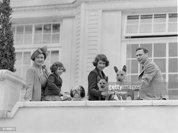 The Royal family at the Royal Lodge in Windsor Queen Elizabeth Princess Margaret Princess Elizabeth and King George VI of Great Britain with the...