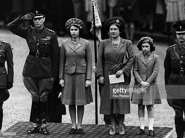 King George VI Queen Elizabeth Princess Elizabeth and Princess Margaret inspecting the Grenadier Guards on Princess Elizabeth's 16th birthday