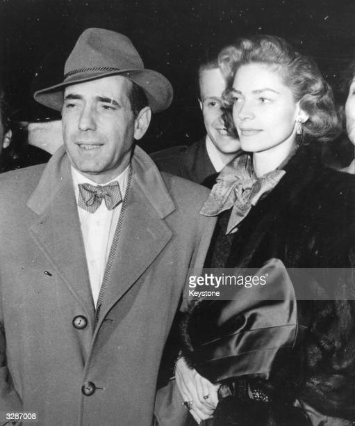 American actress Lauren Bacall formerly Betty Joan Perske arriving in London with her husband Humphrey Bogart