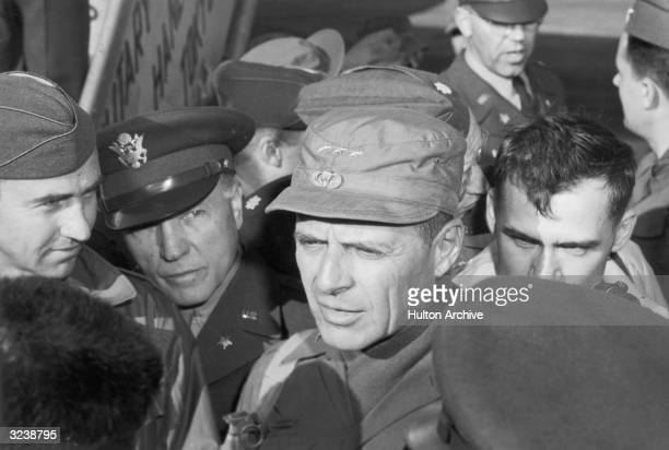 American Lieutenant General Matthew Bunker Ridgway CommanderinChief of the United Nations Forces in Korea arriving from Korea with Frank Pace Jr...