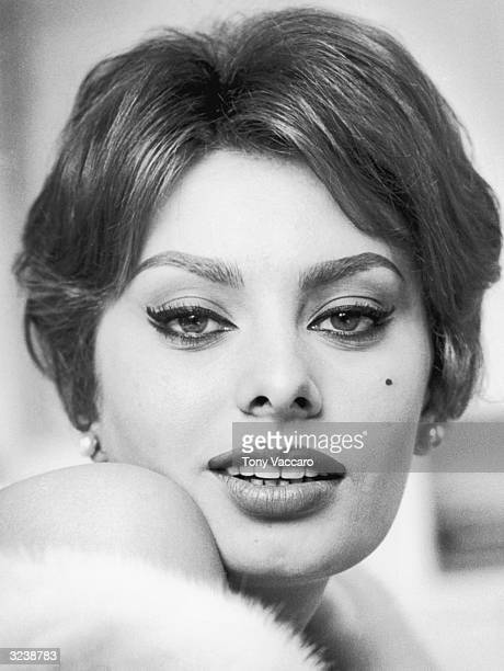 Closeup of Italian actor Sophia Loren with bare shoulders and a white fur New York City