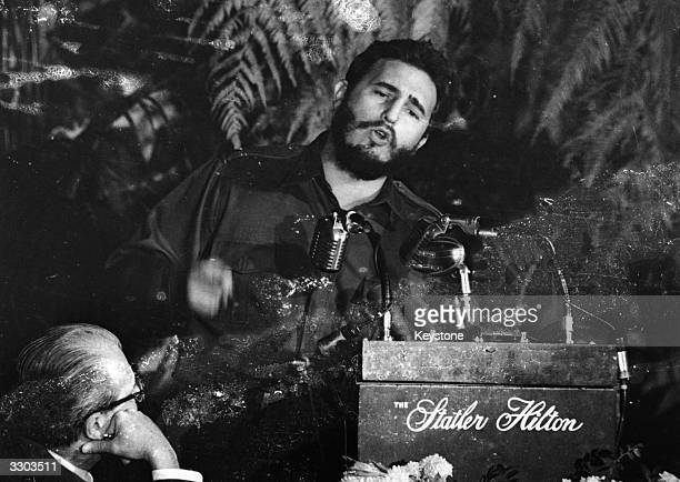Fidel Castro Premier of Cuba addressing the American Society of Newspaper Editors during a meeting in Washington USA