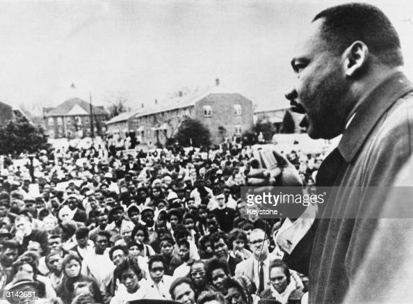 Dr Martin Luther King addresses civil rights marchers in Selma Alabama