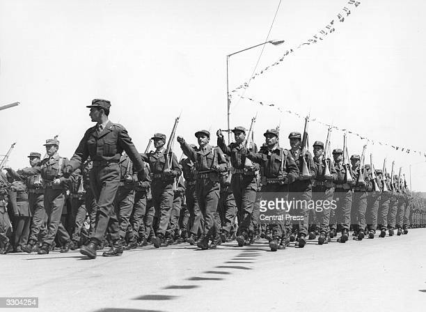 Soldiers march in the Annual antiBritish EOKA parade in Nicosia Cyprus