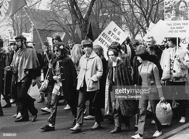 A CND march in Chiswick London protesting against American involvement in the Vietnam War