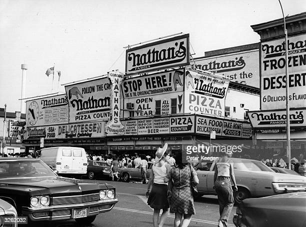 Nathan's Famous restaurant on Coney Island New York which is recognised as selling the City's finest hot dog as well as catering for other tastes