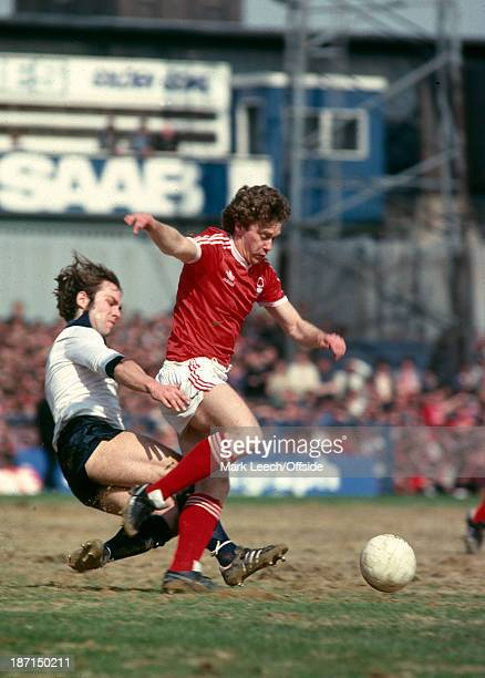14 April 1979 Football League Division One Derby County v Nottingham Forest Tony Woodcock of Forest is tackled from behind by Jeff Powell