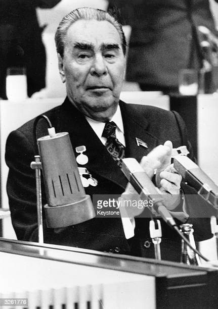 Russian politician Leonid Brezhnev general secretary of the Communist Party of the Soviet Union during an address to the 16th Congress of the...