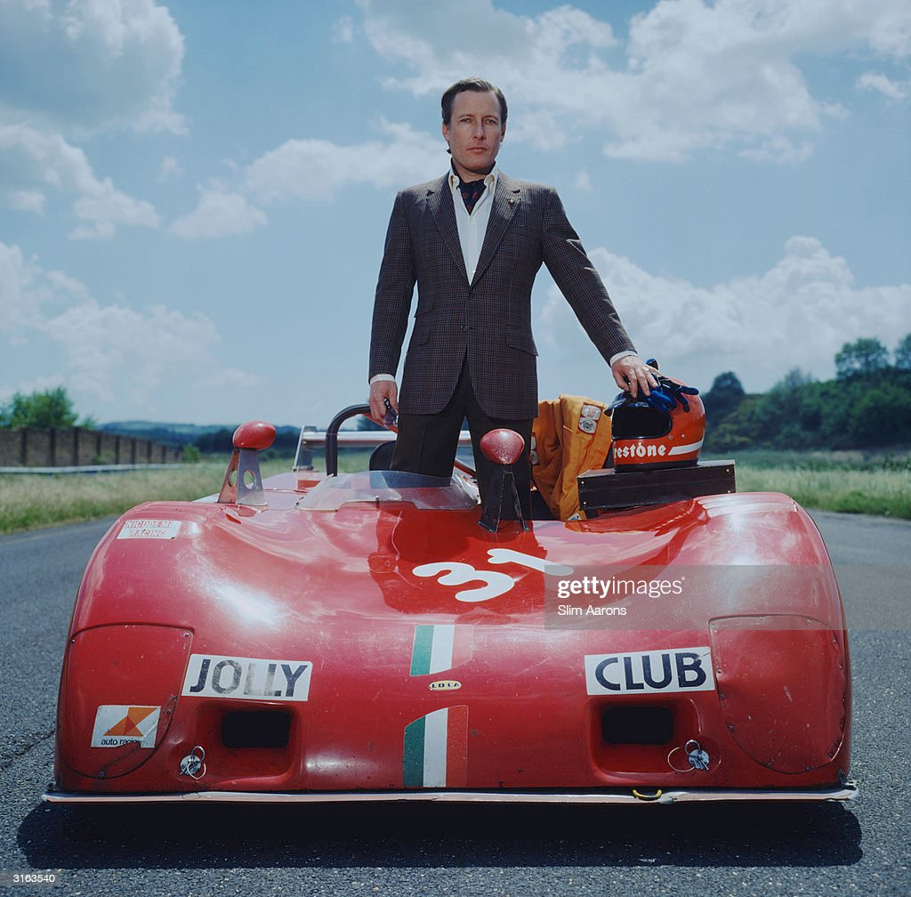 Member of the 'Jolly Club', Gabriele D'Annunzio, Prince Di Montenevoso at Vallelonga with his red Lola racing car. He is Chief Test Driver for Firestone International.