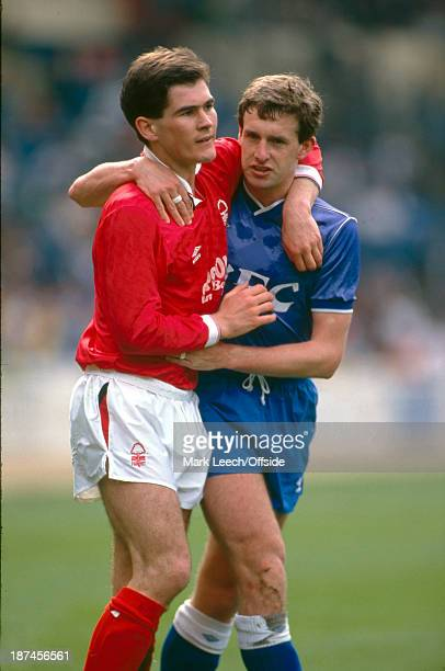 30 April 1989 Football League Simod Cup Final Nottingham Forest v Everton Nigel Clough puts an arm around Kevin Sheedy after being fouled by the...