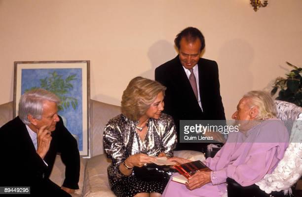 April 1989 Spain The Kings of Spain Juan Carlos I and Sofia with the writer Maria Zambrano Cervantes Award 1989