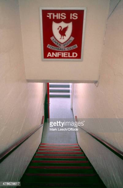 14 April 1990 Football League Division One Liverpool v Nottingham Forest The stairs down the tunnel that lead out onto the pitch at Anfield