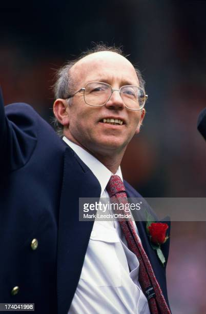 21 April 1991 Football League Cup Final Manchester United v Sheffield Wednesday United coach Nobby Stiles wearing a blazer and buttonhole
