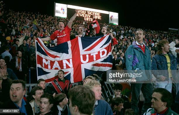 21 April 1993 Premiership Crystal Palace v Manchester United Man United fans hold up a flag of the Union Jack with 'MAN UTD' in the middle