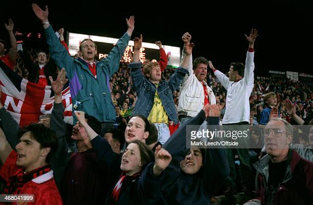 21 April 1993 Premiership Crystal Palace v Manchester United Man United fans stand up to support their team with chants