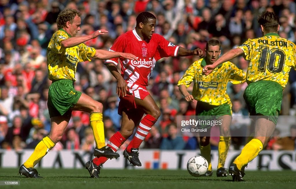 John Barnes of Liverpool takes on Jeremy Goss of Norwich City during the FA Carling Premiership match against Norwich City played at Anfield in Liverpool, England. Norwich City won the match 2-0. \ Mandatory Credit: Clive Brunskill/Allsport