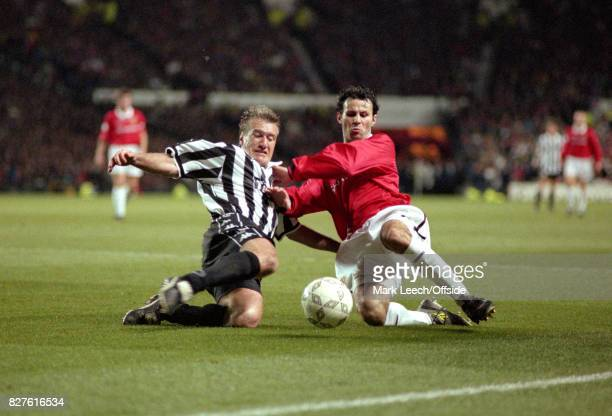 UEFA Champions League Semi Finals 1st Leg Manchester United v Juventus Didier Deschamps of Juventus and Ryan Giggs both slide into a tackle Photo...