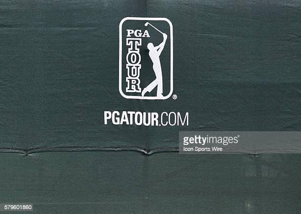 PGA logo during the Shell Houston Open golf tournament at the Golf Club of Houston in Houston TX