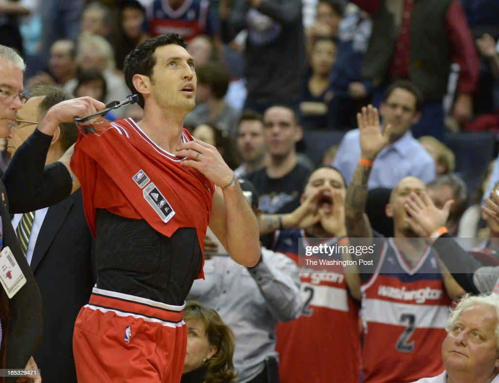 Chicago Bulls shooting guard Kirk Hinrich (12) takes off his jersey after being ejected from the game in the 4th quarter after he received two technical fouls on April 2, 2013 in Washington, DC