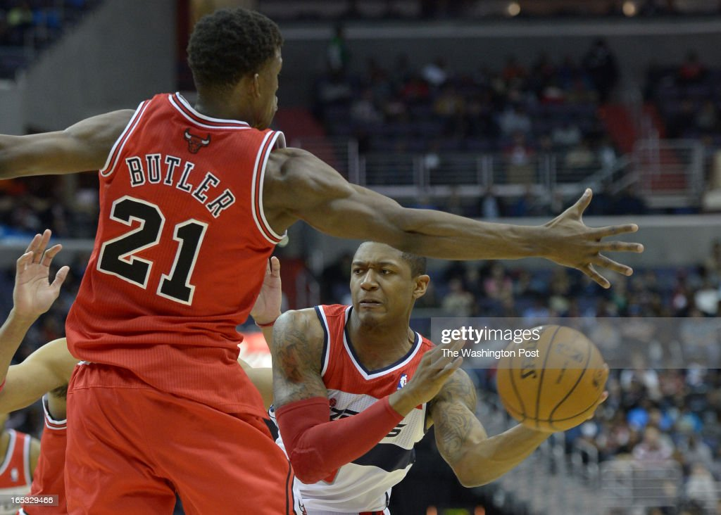 Washington Wizards shooting guard Bradley Beal (3) looks to pass against Chicago Bulls small forward Jimmy Butler (21) on April 2, 2013 in Washington, DC