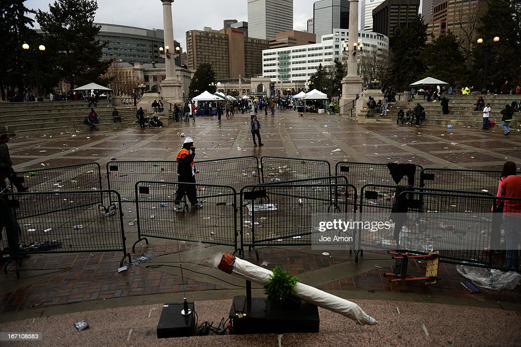 The grounds are near empty at Civic Center Park in Denver Colorado, Saturday April 20th, 2013 after the 4/20 pot rally. Two people were shot during Saturday's annual 4/20 marijuana rally, held on a day cannabis enthusiasts regard as a holiday called 4/20 that drew tens of thousands to Denver's Civic Center park. This is the first 4/20 marijuana rally since Colorado voters legalized marijuana use for people 21 and older in November. April 20, 2013 Denver, Colorado.