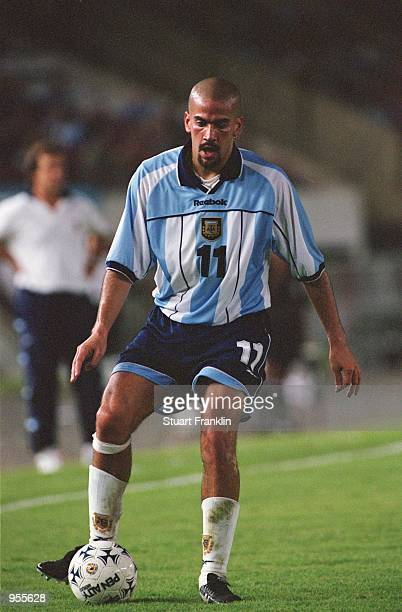 Juan Veron of Argentina in action during the FIFA World Cup Qualifier between Argentina and Venezuela played at the El Monumental stadium in Buenos...