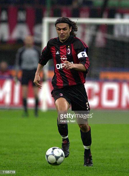 Paolo Maldini of AC Milan in action during the Serie A 24th Round League match between AC Milan and Lazio played at the San Siro Stadium Milan...