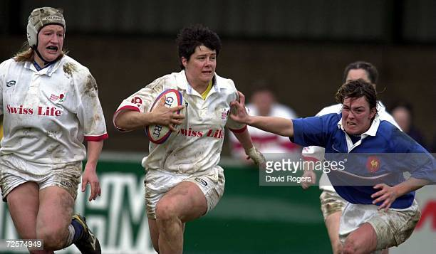 8 April 2001 Teresa O''Reilly the England prop powers away with the ball during the Womens International against France at Franklin Gardens...