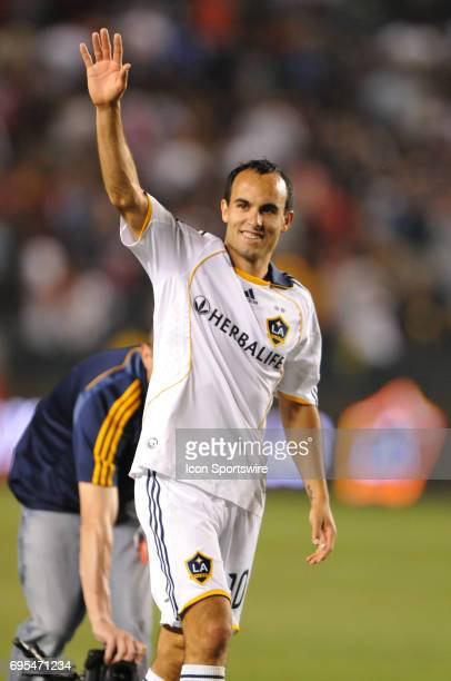 Galaxy Landon Donovan gives a thumbs up to the crowd during a Major League Soccer match between Chivas USA and the Los Angeles Galaxy at the Home...