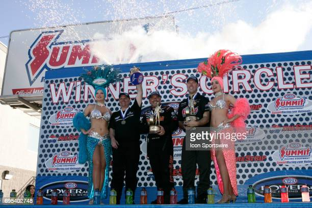 Tim Wilkerson Chevrolet Monte Carlo NHRA Funny Car Cory McClenathan Fram NHRA Top Fuel Dragster and Jason Line Pontiac GTO NHRA Pro Stock pose with...