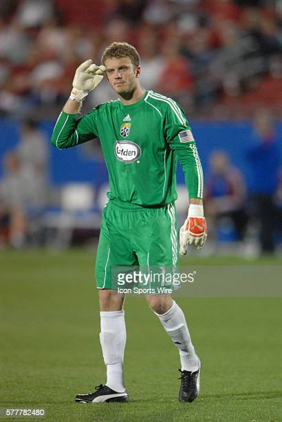 Columbus Crew goalie William Hesmer during 2 2 draw with FC Dallas at Pizza Hut Park in Frisco TX