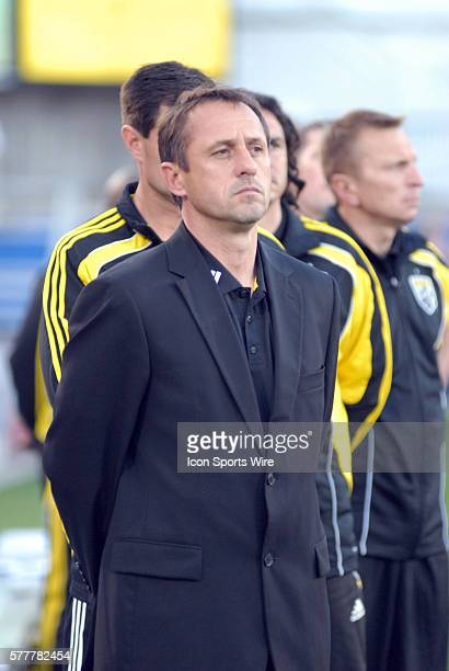 Columbus head coach Robert Warzycha during 2 2 draw with FC Dallas at Pizza Hut Park in Frisco TX