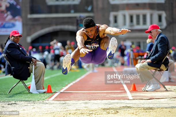 Alexander MobleyHollie jumps during the Penn Relays at Franklin Field in Philadelphia Pennsylvania