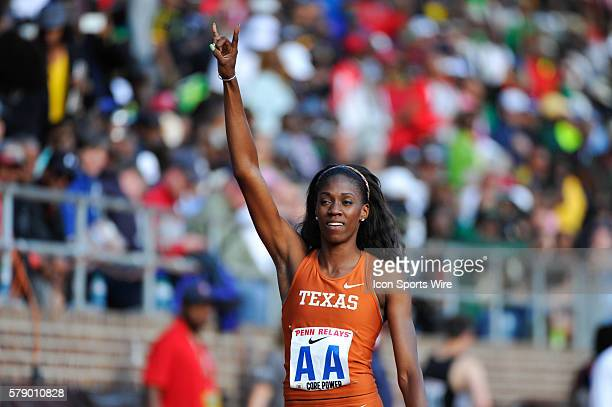 Ashley Spencer of Texas reacts after winning the College Women's 4x400 Championship of America during the Penn Relays at Franklin Field in...